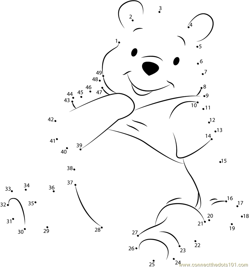 Beautiful Pooh Bear Dot Printable Worksheet