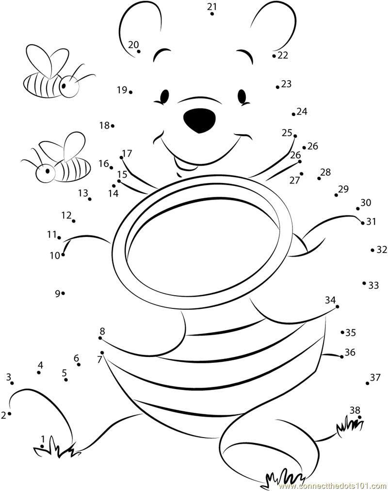 Pooh Bear with Honey dot to dot
