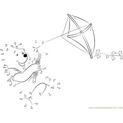 Pooh Bear Playing Kite