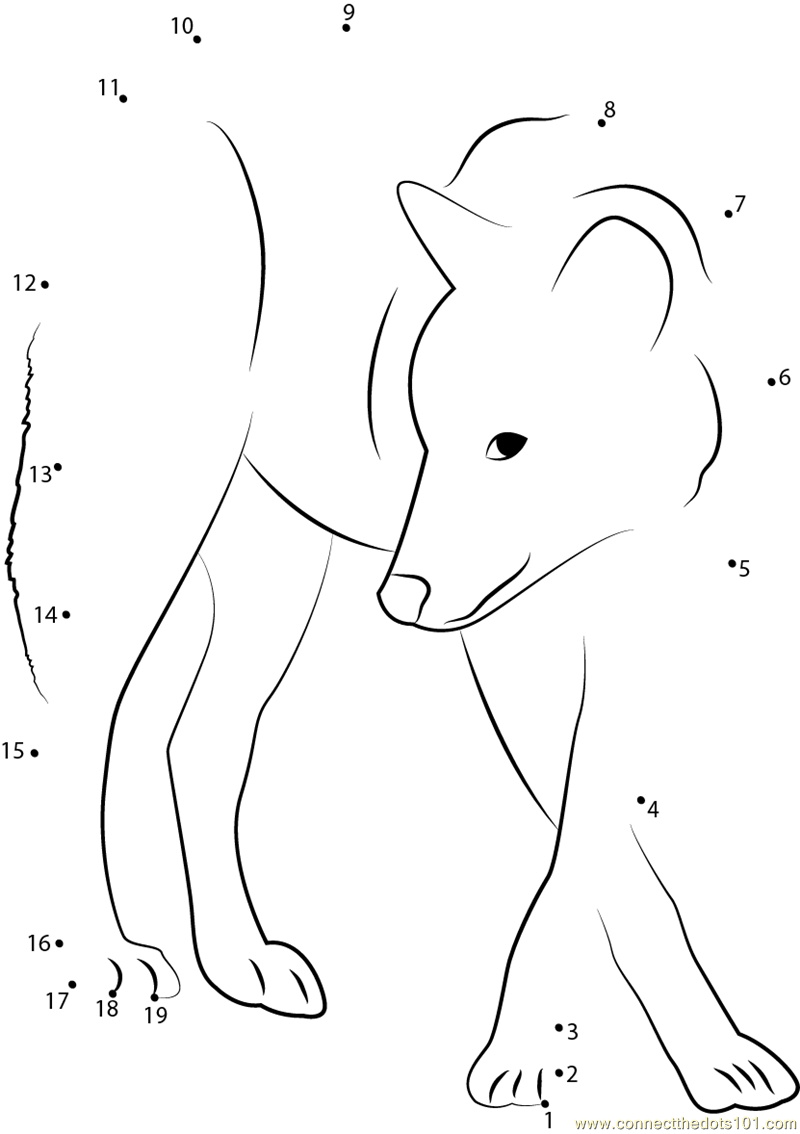 Grey Wolf Dot To Dot Printable Worksheet Connect The Dots