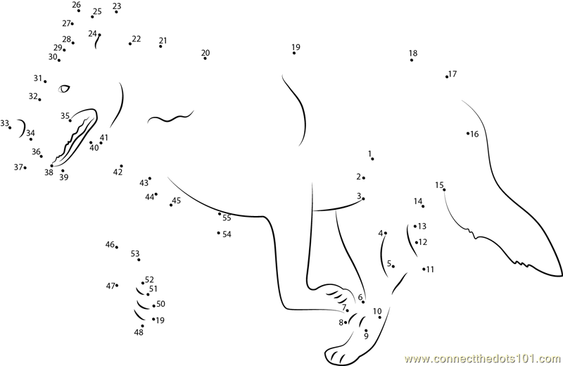 Mexican Wolf Dot To Dot Printable Worksheet