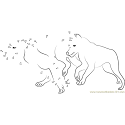 Two Wolves Running Dot to Dot Worksheet