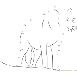 Wolf Look Dot to Dot Worksheet