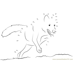 Wolf On Hunting Dot to Dot Worksheet