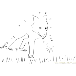 Wolf Running in Grass Dot to Dot Worksheet
