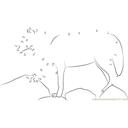 Wolf Standing On Rock Dot to Dot Worksheet