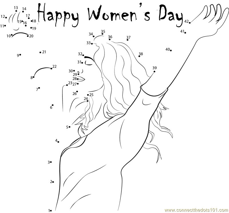 International womens day coloring pages ~ Gorgeous Women's Day dot to dot printable worksheet ...