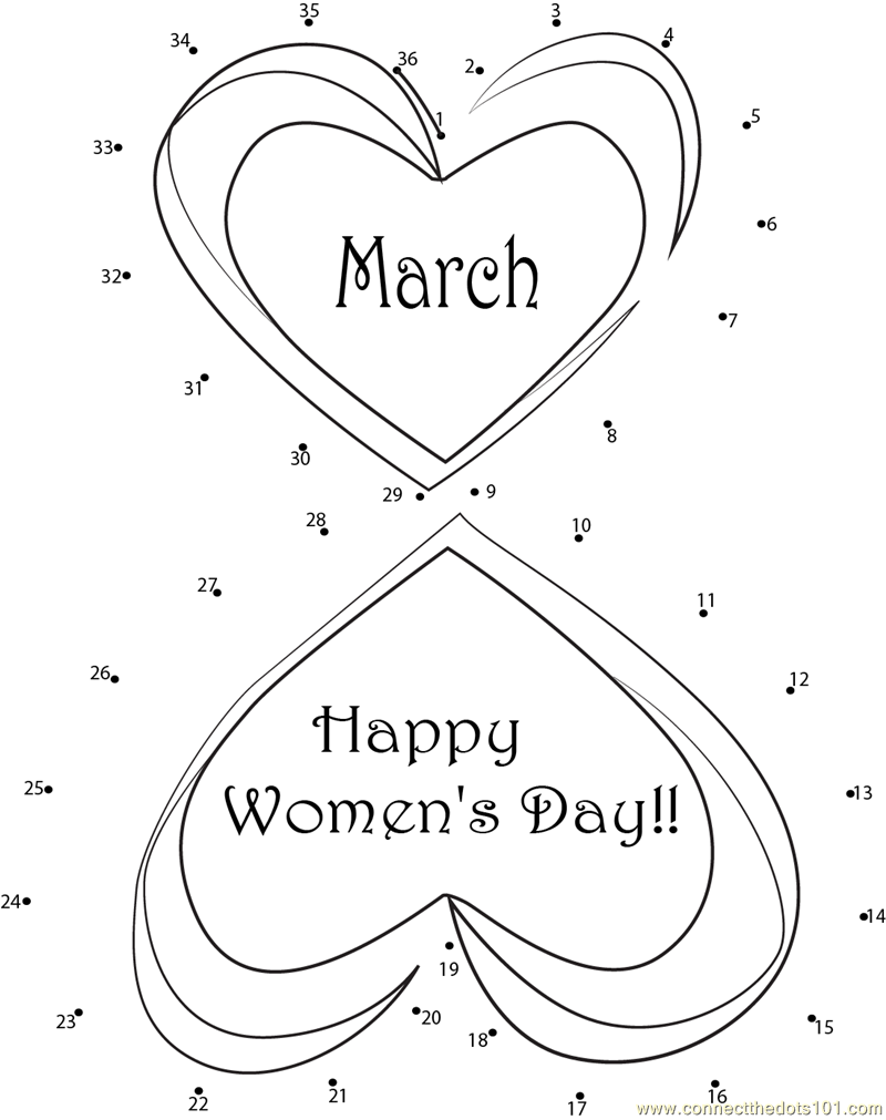 International womens day coloring pages ~ Happy International Women's Day dot to dot printable ...