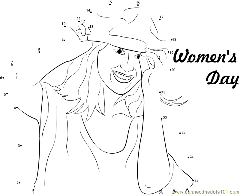 International womens day coloring pages ~ Women's Day Feel Better dot to dot printable worksheet ...