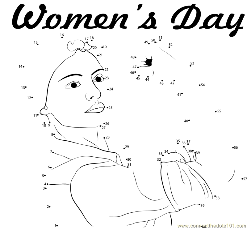 International womens day coloring pages ~ Women's Day dot to dot printable worksheet - Connect The Dots