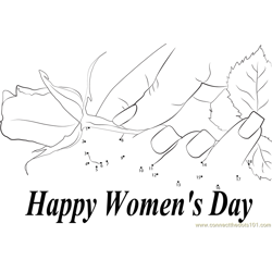 Woman's Day Red Rose Dot to Dot Worksheet