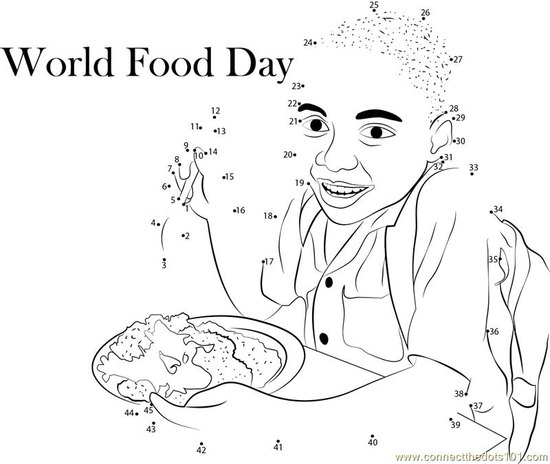 Hungry World Food Day dot to dot printable worksheet ...
