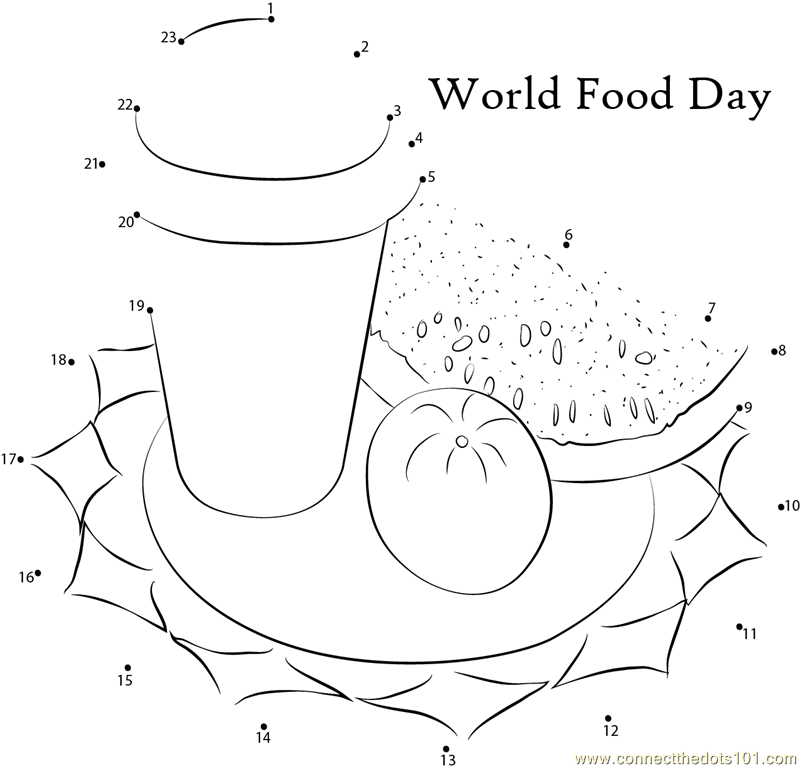 World Food Day dot to dot printable worksheet Connect