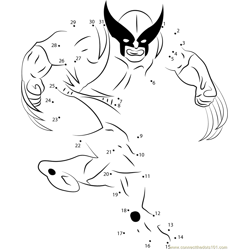 Wolverine in James Howlett Earth Dot to Dot Worksheet