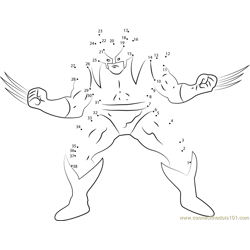 Wolverine show his Power Dot to Dot Worksheet