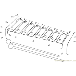 Wooden Xylophone Dot to Dot Worksheet