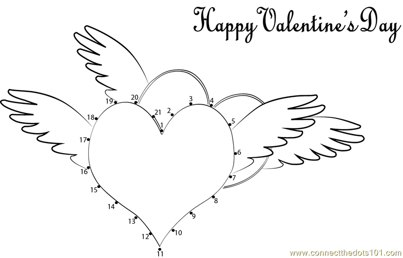 Happy valentines day dot to dot printable worksheet for Valentine connect the dots coloring pages