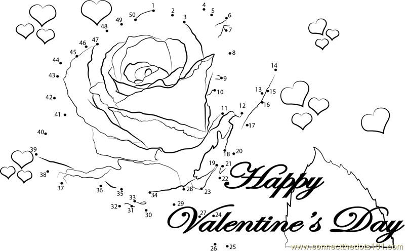Romantic valentine with rose dot to dot printable for Valentine connect the dots coloring pages