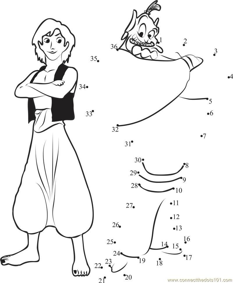 aladdin dot to dot colouring pages