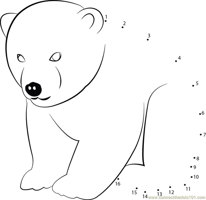 Printable Dot to Dot Animal Dot to Dot Polar Bear Printables Kids Print Activities