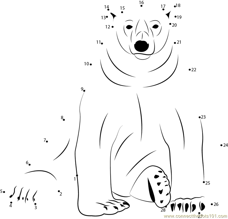 the Dots Sitting Polar Bear (Animals > Bear) dot to dots for