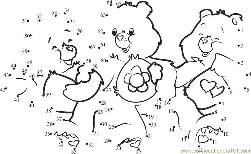 Connect the dots Care Bears Love worksheet, Dot to dots page