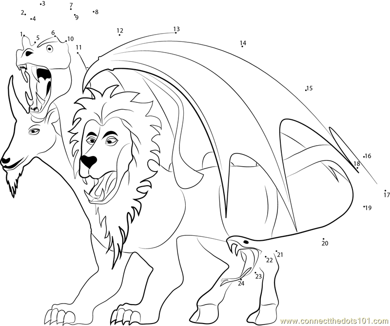 chimera coloring pages - connect the dots hybrid monster mythical creatures
