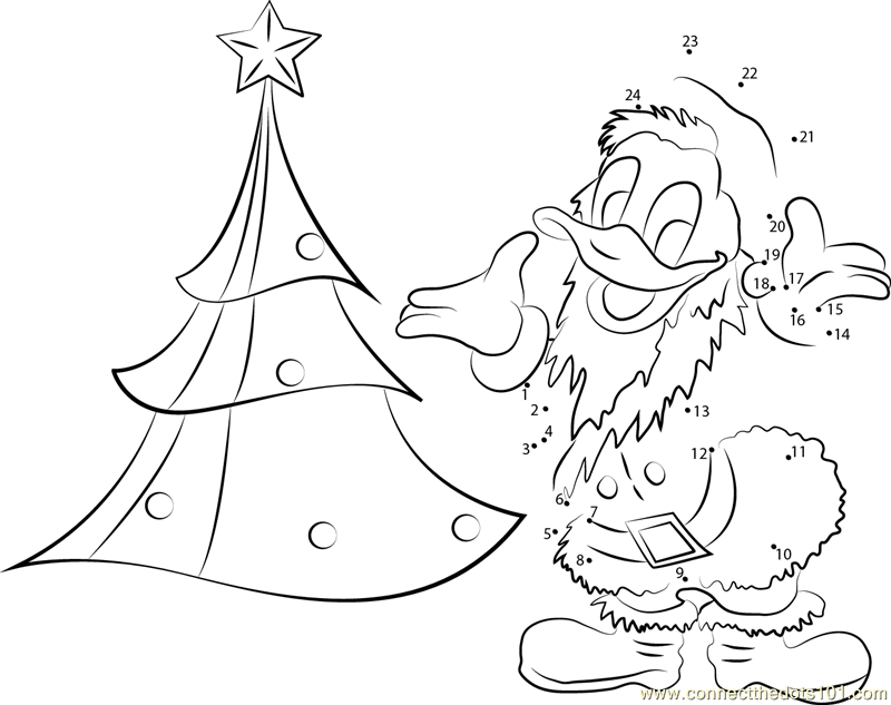 Connect The Dots Christmas Tree And Donald Duck So Happy