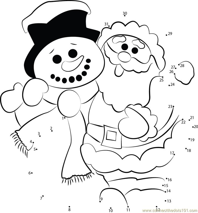 Connect the dots Santa Clause Snowman worksheet, Dot to dots page