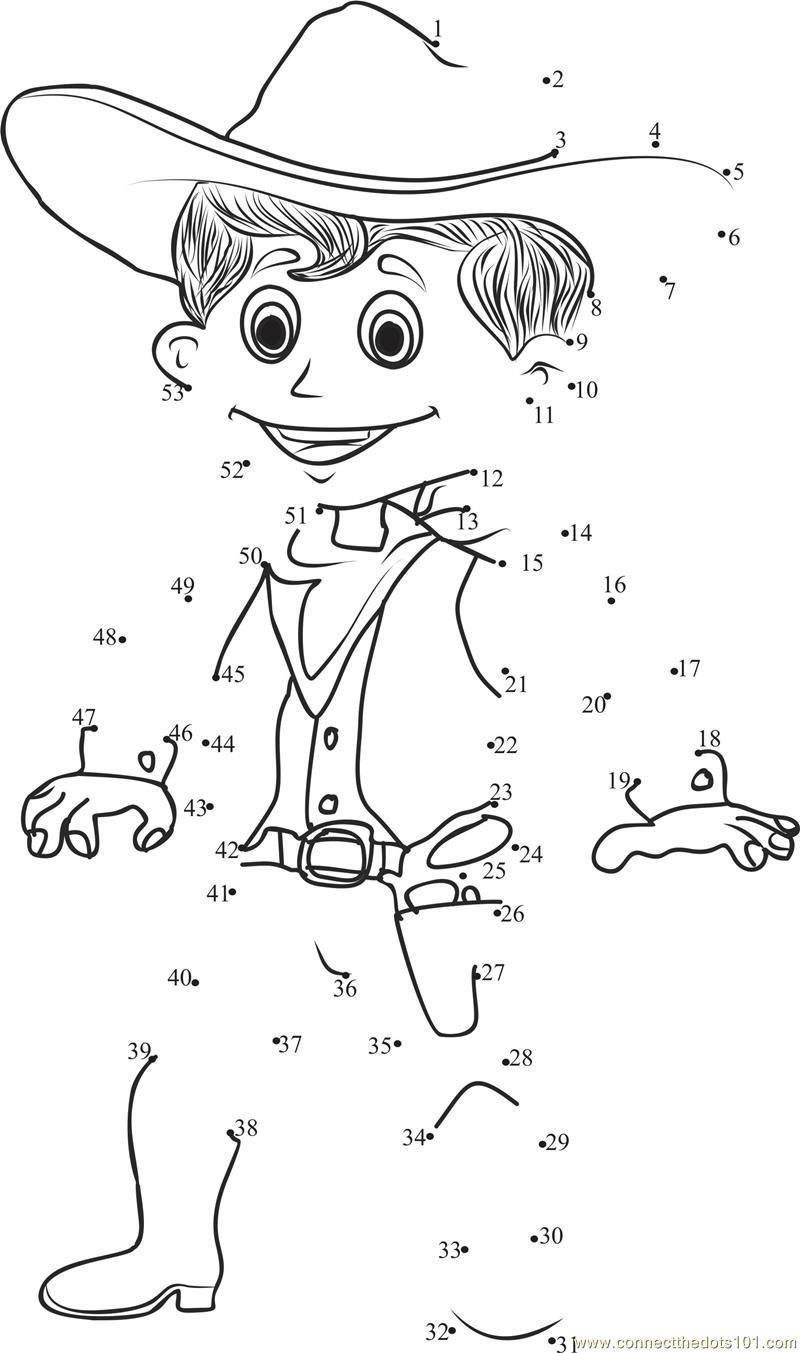 Connect the Dots Smart Cowboy (Cartoons u0026gt; Cowboys) - dot ...
