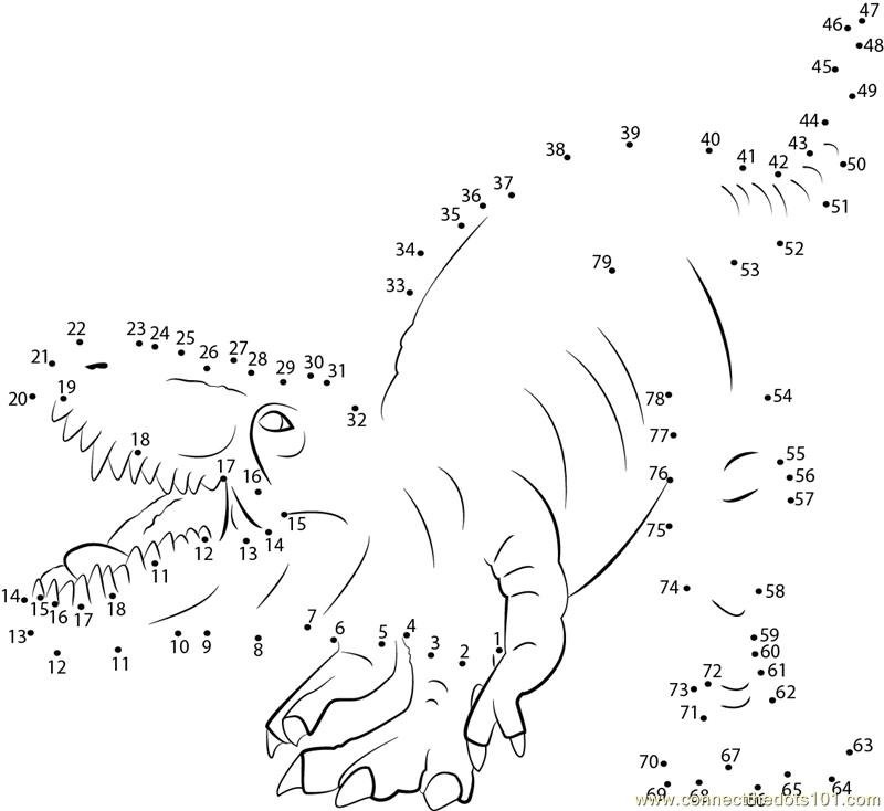 dinosaur connect the dots Colouring Pages