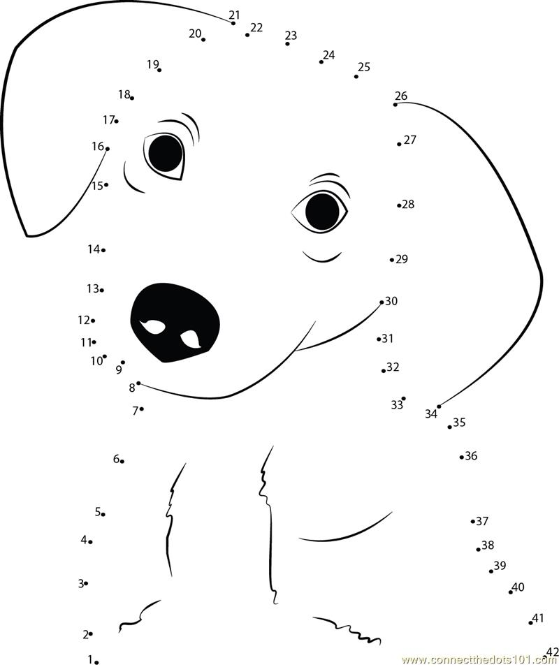 Connect the dots Innocent Dog worksheet, Dot to dots page