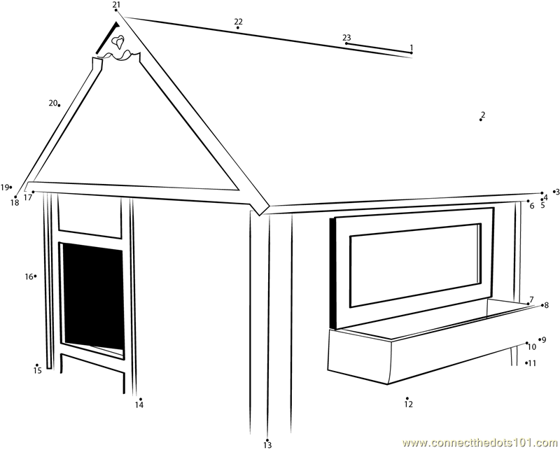 Connect The Dots Simple Red Indoor Dog House Architecture