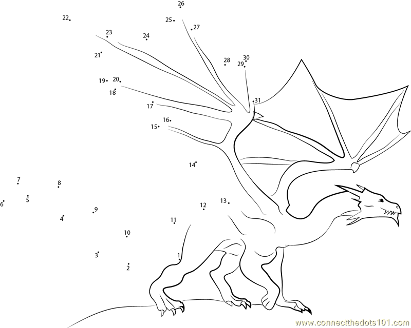 Fire Blue Dragon Dot To Dot Printable Worksheet Connect