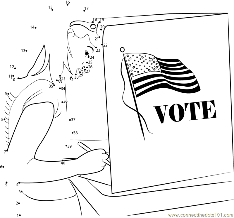 Connect the dots girl give her vote holidays election for Free election day coloring pages