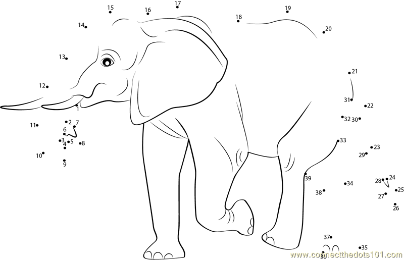 Connect The Dots Elephant Walking Away Animals Gt Elephant