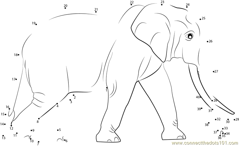 Elephant Dot To Dot Worksheet : Connect the dots sri lankan elephant animals gt