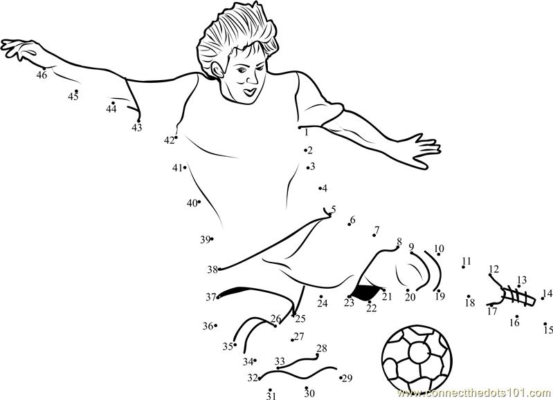 Football Kick Dot To Dot Printable Worksheet