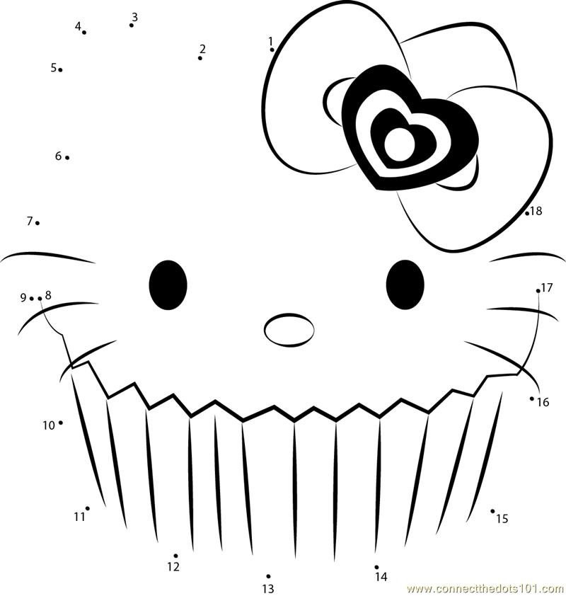 Hello Kitty Dot To Dot Coloring Pages : Free hello kitty dot to coloring pages