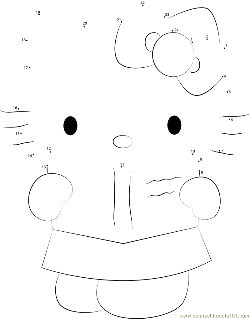 Hello Kitty Dot To Dot Coloring Pages : Connect the dots hello kitty see in book cartoons gt