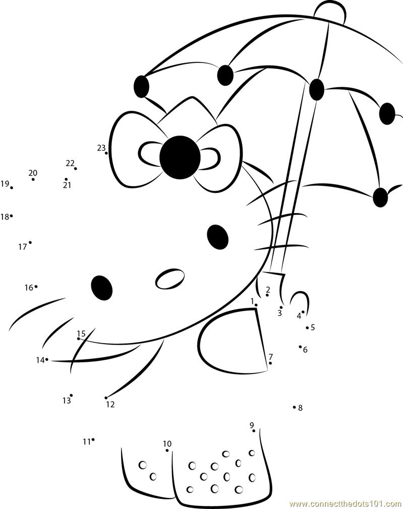 Connect the dots Hello Kitty with Umbrella worksheet, Dot to dots page