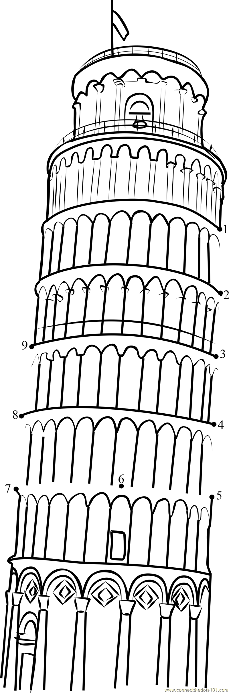 Free Coloring Pages Of Leaning Tower Of Pisa Leaning Tower Of Pisa Coloring Page