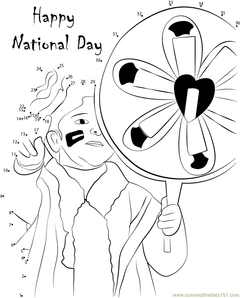 Coloring Pages For Uae National Day : Connect the dots happy national day holidays gt