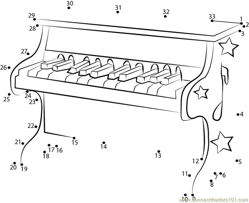 Kids Piano Dot To Dot Printable Worksheet