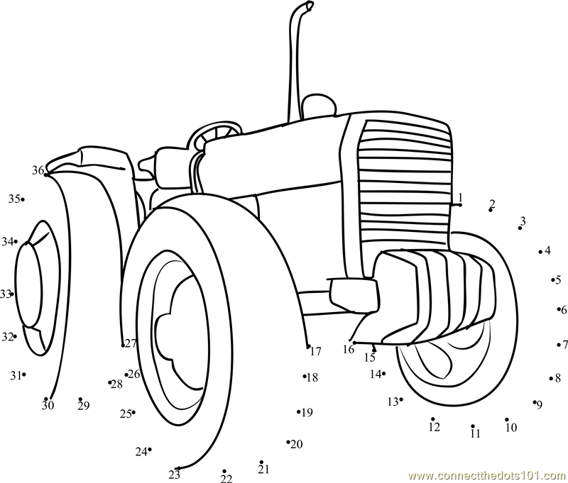 Connect the dots Farming Tractor worksheet, Dot to dots page