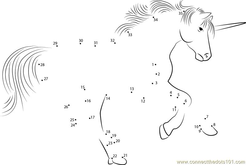 ... the Dots Unicorn Play (Animals > Unicorn) - dot to dots for kids